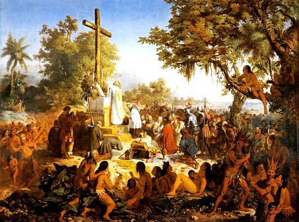 Primeira Missa. Victor Meireles. 1861. Momento descrito na Carta de Caminha.